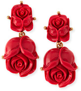 Oscar de la Renta Double Rose Clip-On Earrings, Amaranth