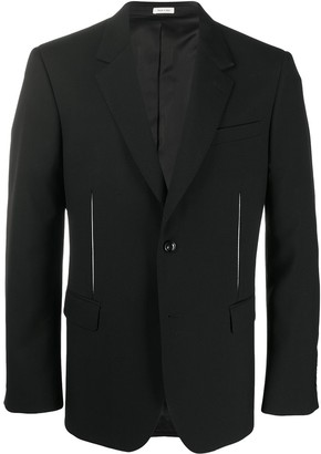 Alexander McQueen Contrasting Slits Single-Breasted Blazer