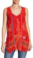 Johnny Was Embroidered Crochet Lace Tank Top