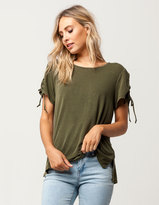 Mimichica MIMI CHICA Lace Up Sleeve Womens Tee