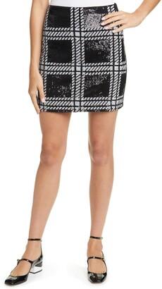 Ted Baker Hoopss Plaid Sequin Mini Skirt