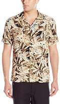 Caribbean Joe Men's Slim Fit Short Sleeve Button Up Leaf Pattern Rayon Hawaiian Shirt