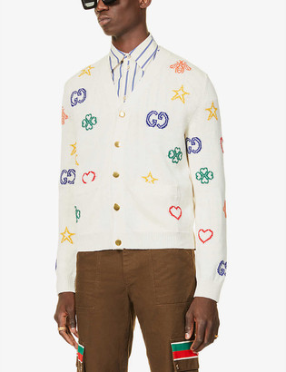 Gucci Symbols-jacquard linen and cotton-blend knitted cardigan