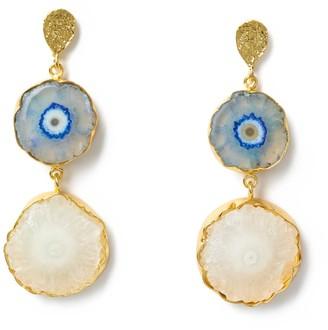 Yaa Yaa London Blue Cream 'So Solar' Gemstone Gold Earrings