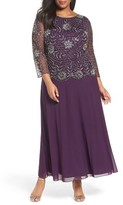 Pisarro Nights Plus Size Women's Embellished Mock Two-Piece Long Dress