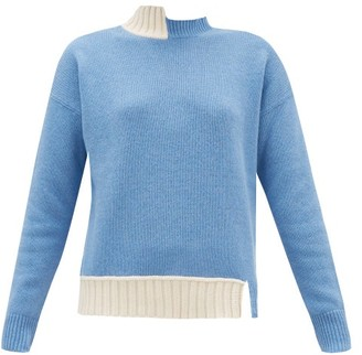 Marni Asymmetric Wool-blend Sweater - Womens - Blue Multi