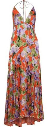 Alice + Olivia Hetty Floral-print Burnout Satin Halterneck Maxi Dress