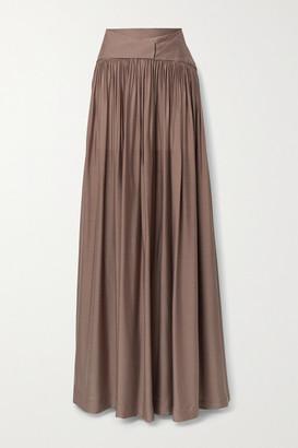 BONDI BORN + Net Sustain Ripple Gathered Washed-satin Maxi Skirt - Brown