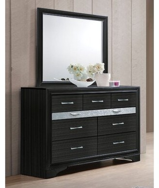 Ebern Designs Carrizo Beveled Edge 9 Drawer Double Dresser with Mirror