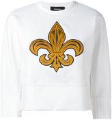 DSQUARED2 embroidered cropped sweatshirt - women - Cotton/Polyamide/Spandex/Elastane/Silk - XS