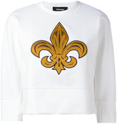 DSQUARED2 embroidered cropped sweatshirt - women - Silk/Cotton/Polyamide/Spandex/Elastane - XS