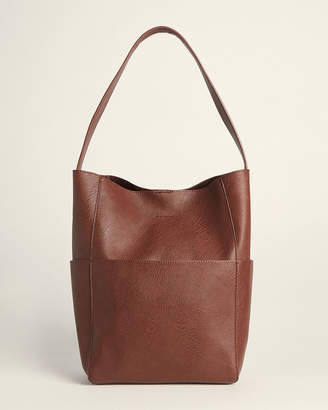Street Level Chocolate Tote Bag With Zipper Pouch