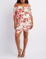 Charlotte Russe Plus Size Floral Off-the-Shoulder Bodycon Dress
