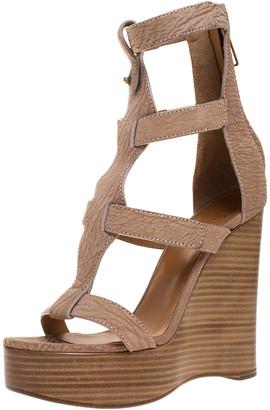 Chloé Beige/Brown Textured Nubuck Gladiator Platform Sandals Size 38