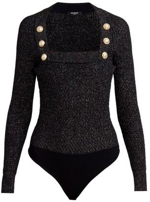 Balmain Lurex Button Knit Bodysuit