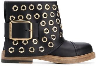Alexander McQueen Cuff eyelet-detailong boots