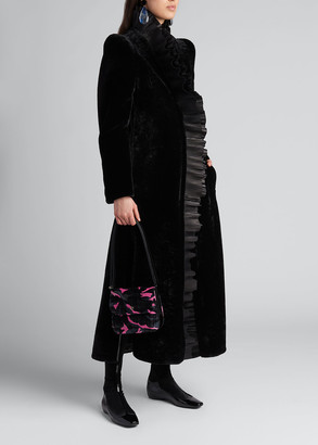 Giorgio Armani Shearling Maxi Coat w/ Leather Plisse Collar