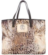 Roberto Cavalli Printed Leather-Trimmed Tote