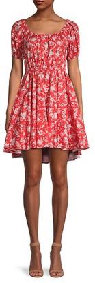 Caroline Constas Bardot Floral Fit--Flare Dress
