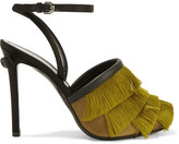 Marco De Vincenzo Leather-trimmed Fringed Satin Sandals - Chartreuse