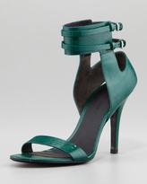 Johanna Ankle-Cuff Patent Sandal, Vine Green