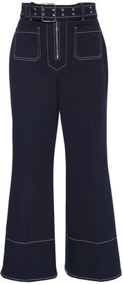 Miu Miu Crop Cotton Drill Wide Leg Pants W/ Belt
