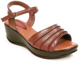 Brown Ankle Buckle Wedge Sandal
