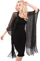 MissShorthair Womens Fashion Lace Crochet Open Front Cardigan Cover Up Tops with Tassels