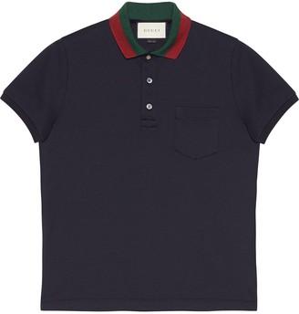 Gucci Cotton polo with Web collar