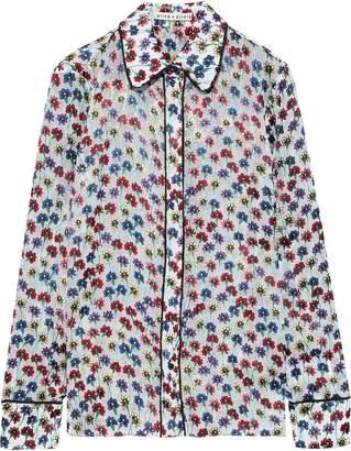 Alice + Olivia Alfie Floral-print Fil Coupe Chiffon Shirt