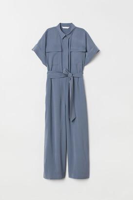 H&M Jumpsuit with Tie Belt - Blue