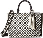 Tory Burch Robinson Woven-Leather Small Zip Satchel