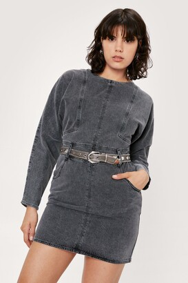 Nasty Gal Womens Where Have You Jean Acid Wash Mini Dress - Black - S, Black