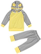 Susenstone Striped Toddler Kids Baby Hooded Tops +Pants Outfits Clothes Set