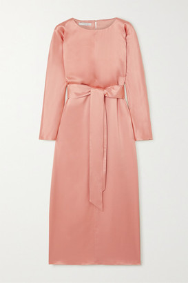 LA COLLECTION Florence Belted Silk-satin Midi Dress - Blush