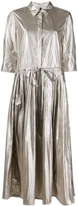 Sara Lanzi Metallic Shirt Maxi Dress