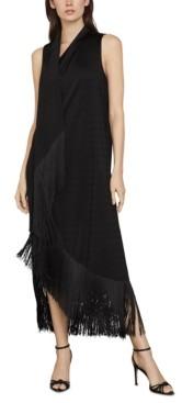 BCBGMAXAZRIA Knit Asymmetrical Fringed-Hem Dress