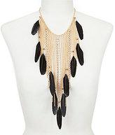 Natasha Accessories Feather Chain Fringed Statement Necklace