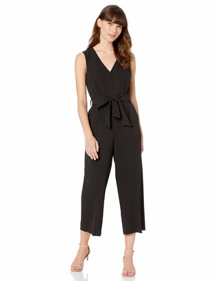 Vince Camuto Womens Sleeveless V-Neck Belted Poly Base Jumpsuit Rich Black 10