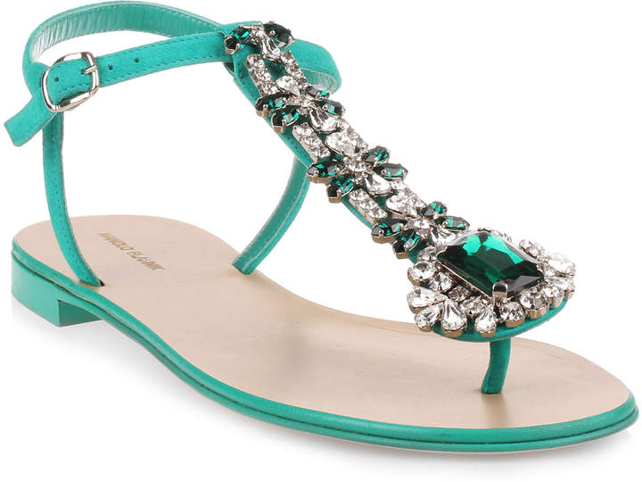 Manolo Blahnik Esfiratomod flat emerald suede sandal