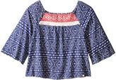 Lucky Brand Kids - 3/4 Sleeve Flowy Printed Top w/ Contrast Colored Yoke Girl's Clothing