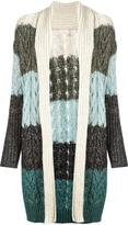 Circus Hotel striped cable knit cardigan