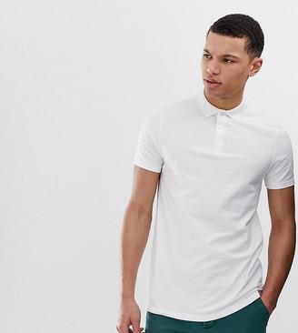 Asos Design DESIGN Tall jersey polo in white