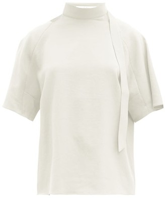 Tibi Chalky Tie-neck Crepe Top - Womens - Ivory