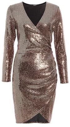Dorothy Perkins Womens *Quiz Bronze Sequin Wrap Bodycon Dress