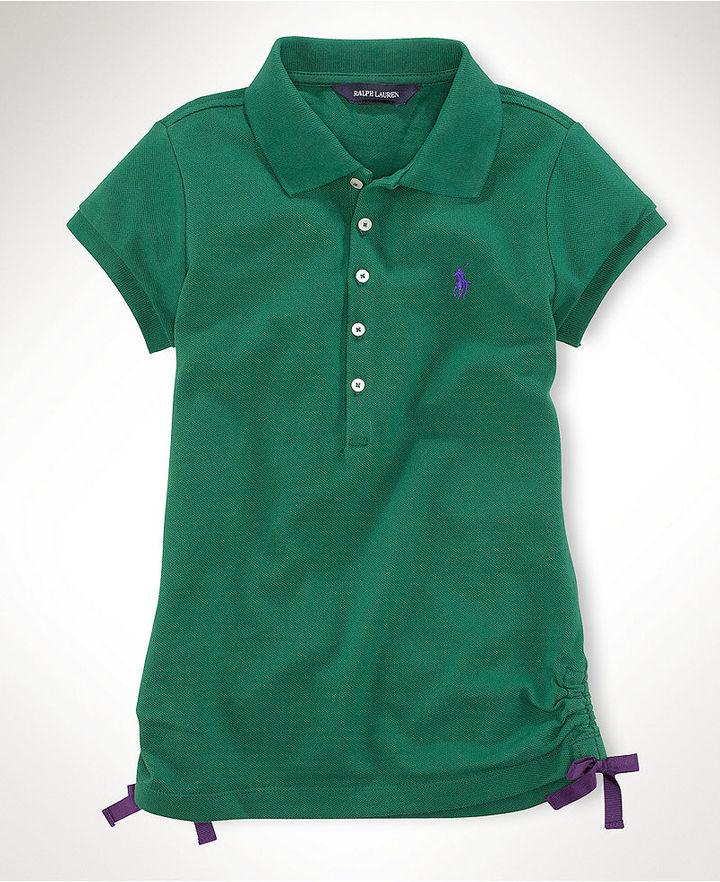 Ralph Lauren Shirt, Girls Solid Ruched Polo Shirt