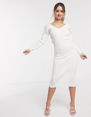 In The Style x Billie Faiers long sleeve knitted midi dress in cream