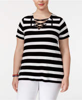 INC International Concepts Plus Size Striped Lace-Up Top, Only at Macy's