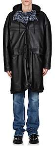 Balenciaga Men's Leather Oversized Taxi Coat - Black