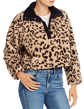 Saylor Cheetah Sherpa Fleece Pullover Sweater
